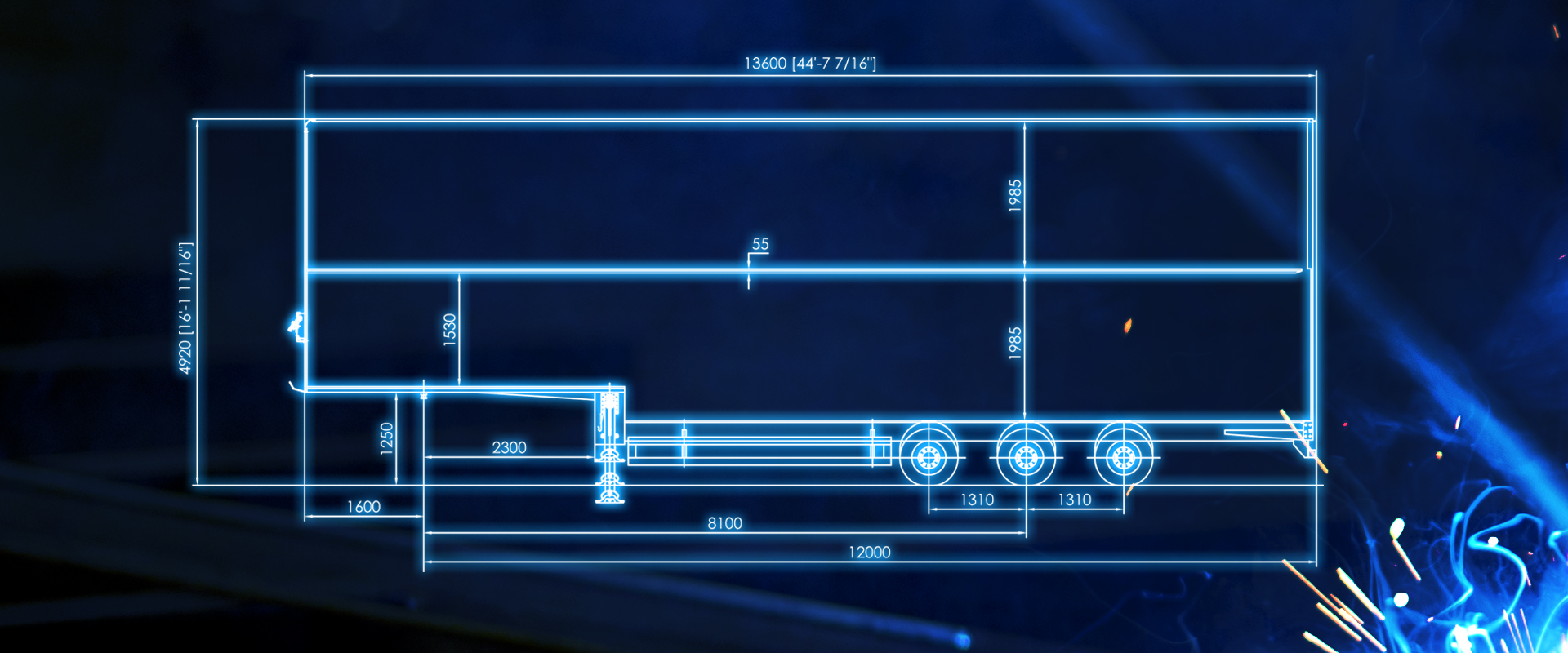 box van trailer double deck blueprint